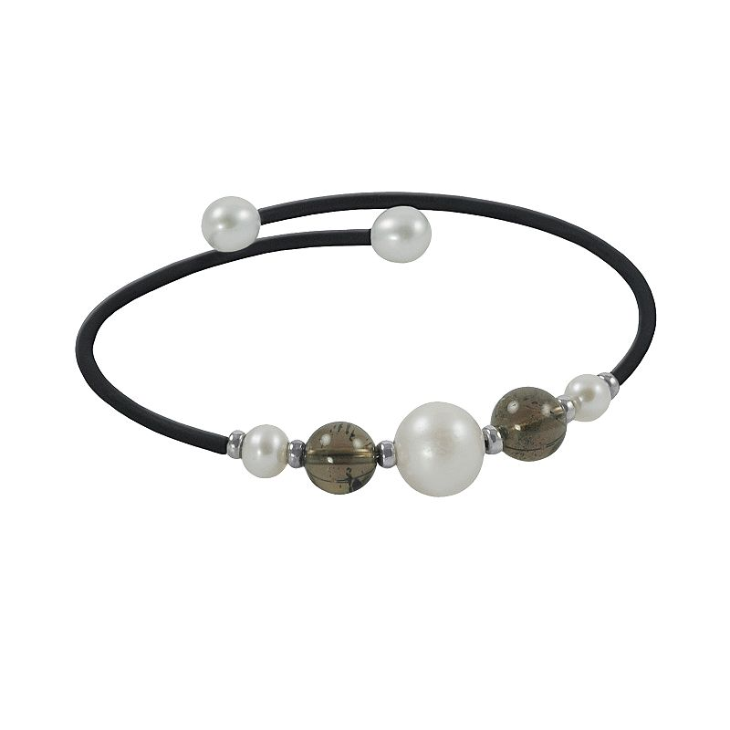 Sterling Silver Freshwater Cultured Pearl and Smoky Quartz Stretch Bracelet