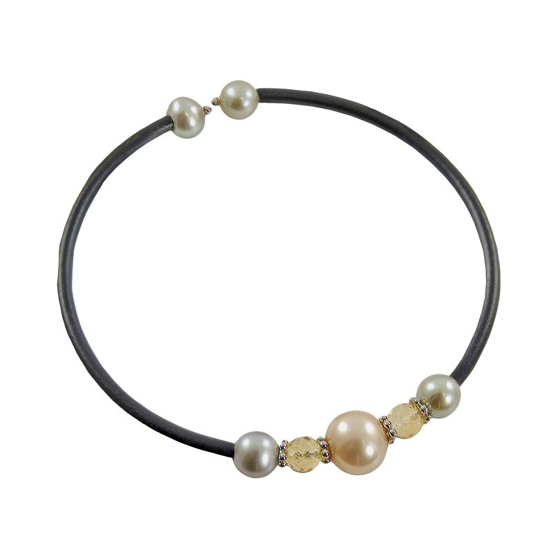 Sterling Silver Dyed Freshwater Cultured Pearl and Citrine Stretch Bracelet