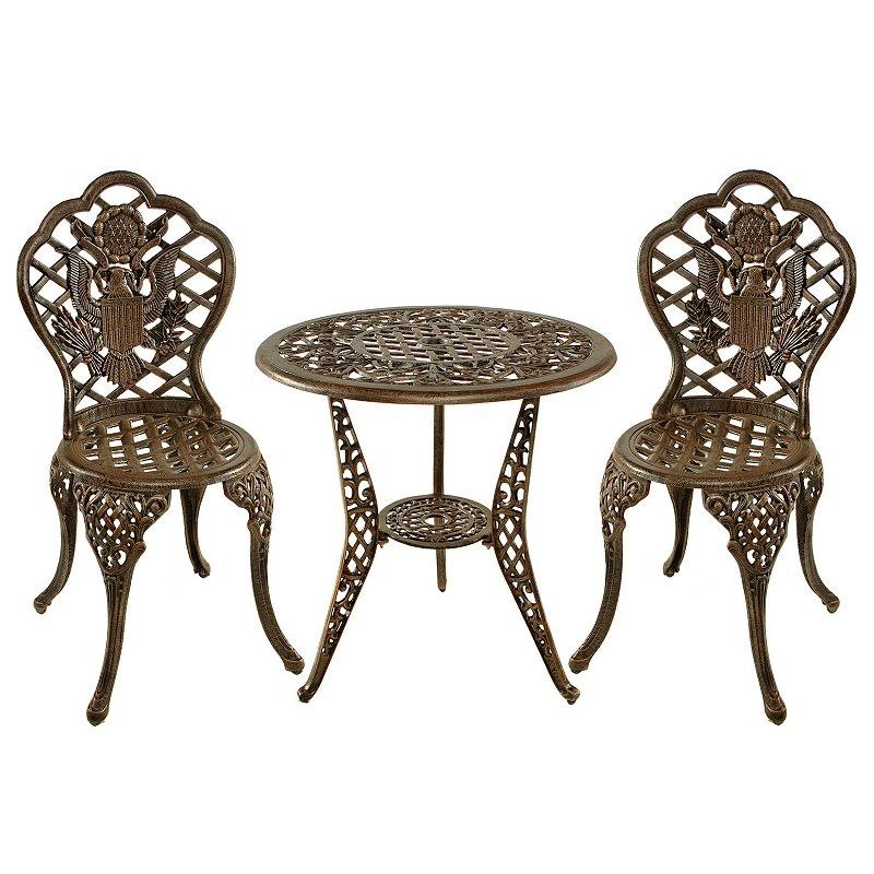 American Eagle Cast Aluminum Outdoor Bistro 3-piece Set
