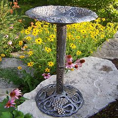 Oakland Living Vineyard Pewter Finish Birdbath Outdoor