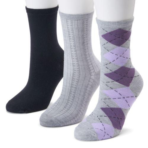 SONOMA life + style® 3-pk. Argyle Crew Socks