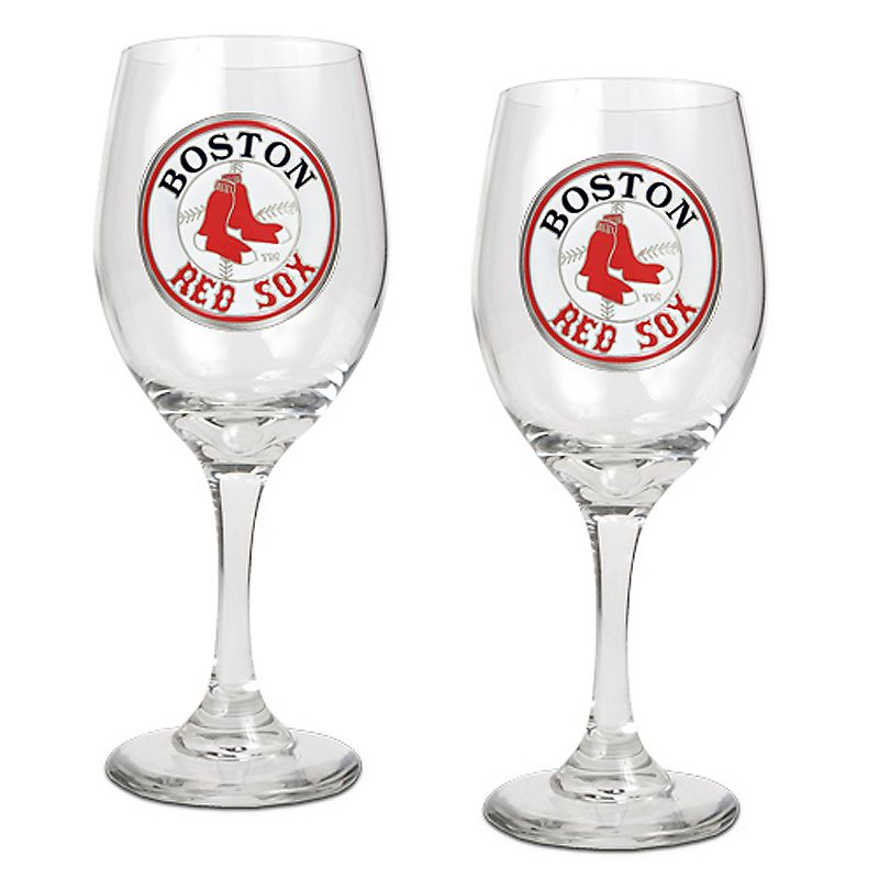Boston Red Sox 2-pc. Wine Glass Set