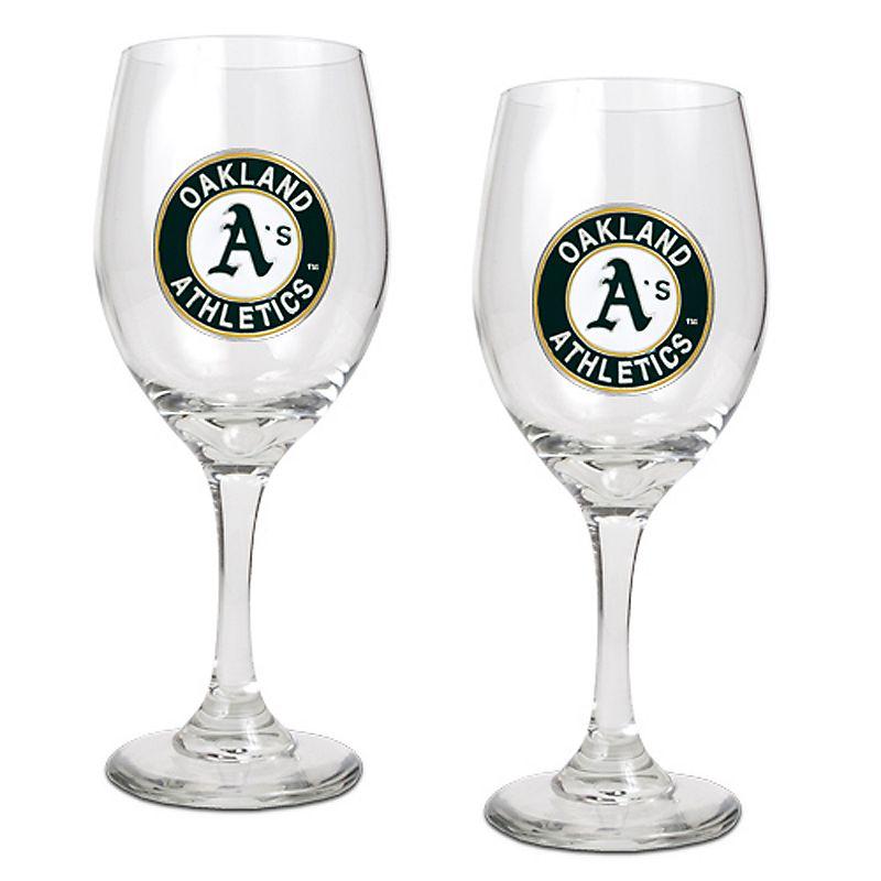 Oakland A's 2-pc. Wine Glass Set