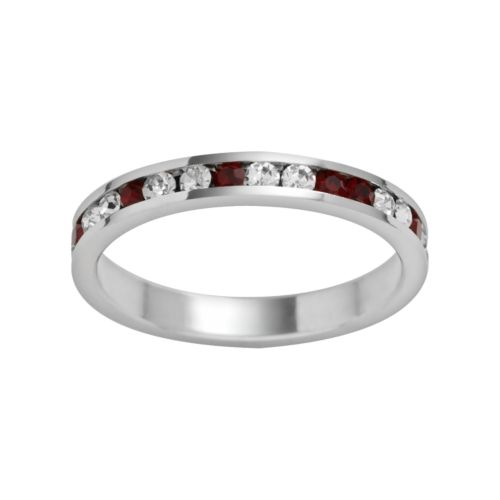 Traditions Sterling Silver Red and White Swarovski Crystal Eternity Ring