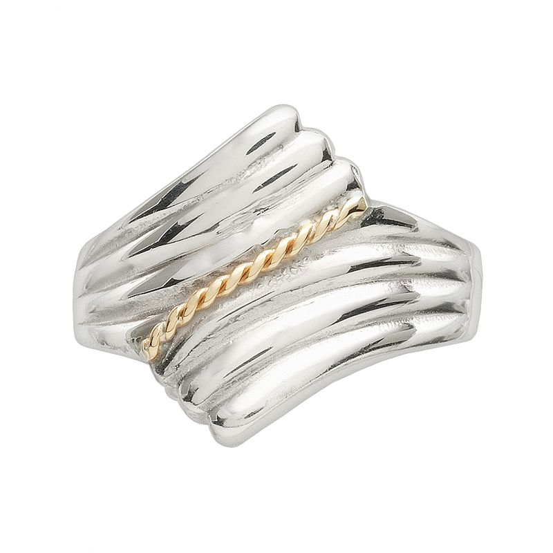 Sterling Silver and 14k Gold Bypass Shrimp Ring