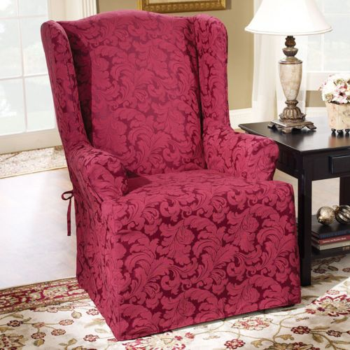 Sure Fit Scroll Leaf Wing Chair Slipcover