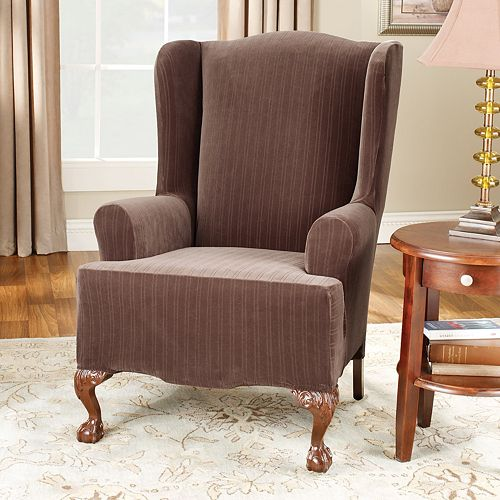 sure fit pin striped wing chair slipcover