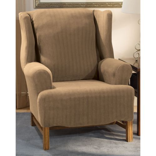 Sure Fit Pin-Striped Wing Chair Slipcover
