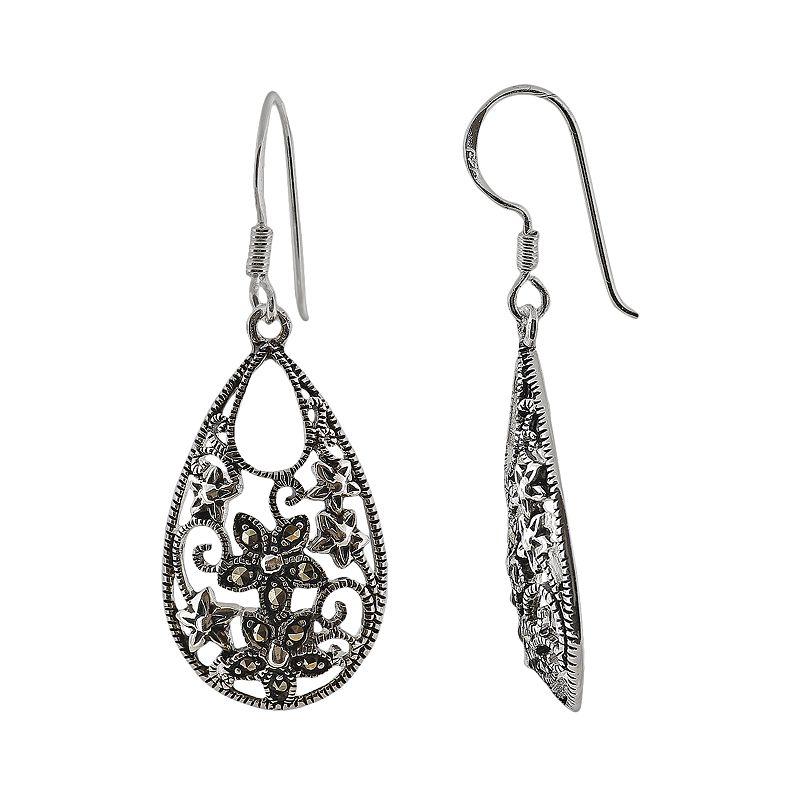 Sterling Silver Marcasite Floral Teardrop Earrings