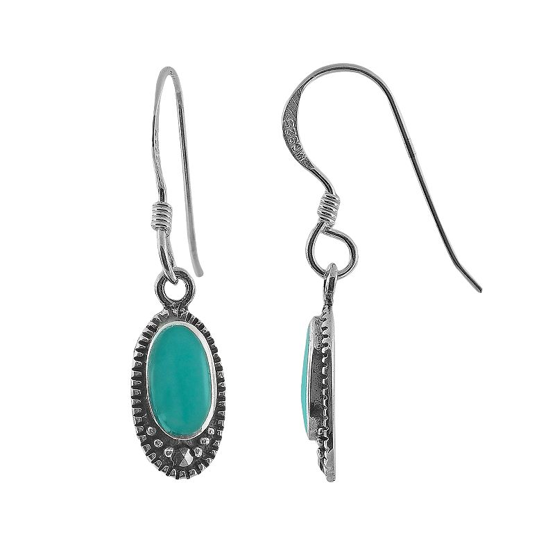 Sterling Silver Turquoise and Marcasite Drop Earrings