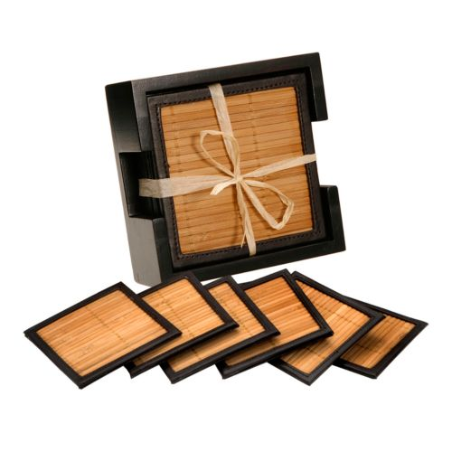 Thirstystone Bamboo and Faux-Leather Coaster Set