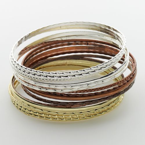 SO Tri-Tone Bangle Bracelet Set
