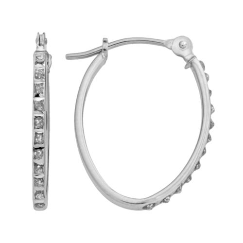 Diamond Fascination 14k White Gold Oval Hoop Earrings