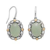 14k Gold & Sterling Silver Jade Drop Earrings