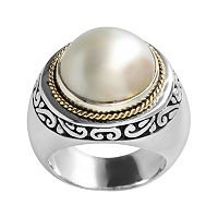 14k Gold & Sterling Silver Freshwater Cultured Pearl Ring