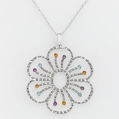 Diamond Mystique Platinum-Over-Silver Gemstone & Diamond Accent Floral Pendant by