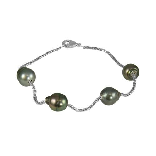 Sterling Silver Tahitian Black Cultured Pearl Station Bracelet