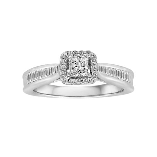 Princess-Cut IGI Certified Diamond Engagement Ring in 14k White Gold (3/4-ct. T.W.)