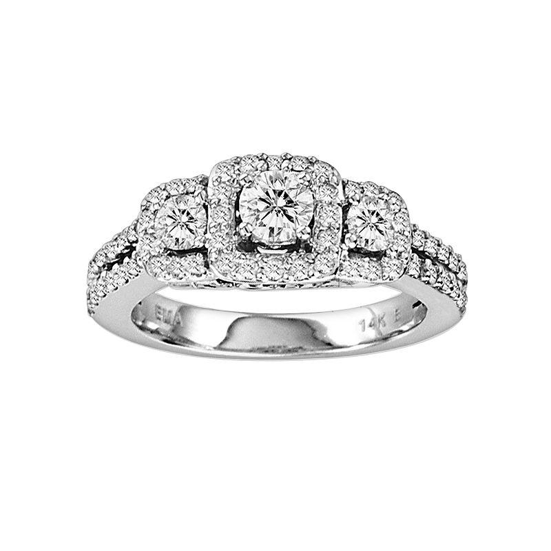 Round-Cut IGI Certified Diamond Engagement Ring in 14k White Gold (1-ct. T.W.)