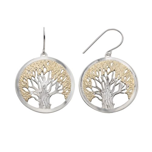Jewelry for Trees 14k Gold and Sterling Silver Tree of Life Hoop Drop Earrings
