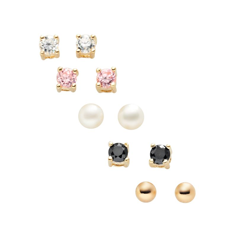 24k Gold-Over-Silver Stud Earring Set