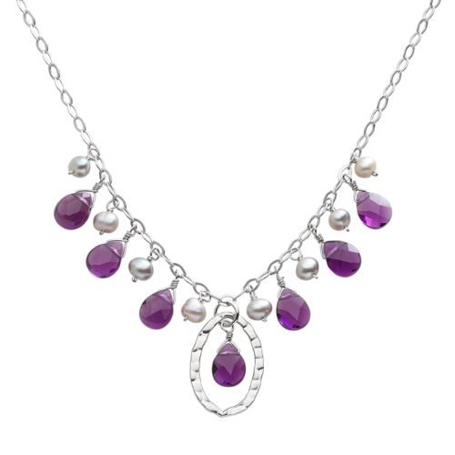 Sterling Silver Amethyst and Dyed Freshwater Cultured Pearl Necklace