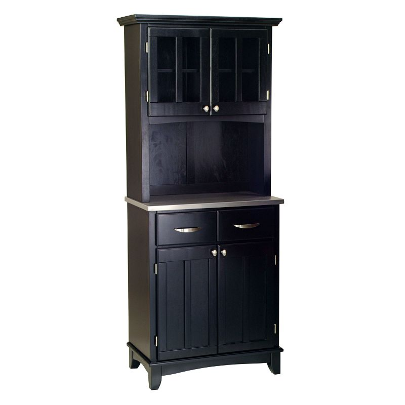 Small Black Hutch Buffet - Stainless Steel Top