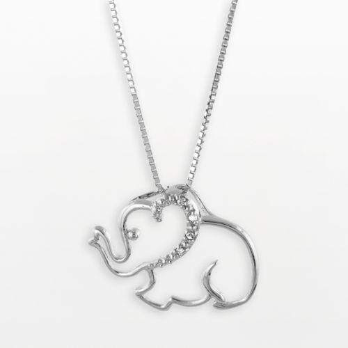 Sterling Silver Diamond Accent Elephant Pendant