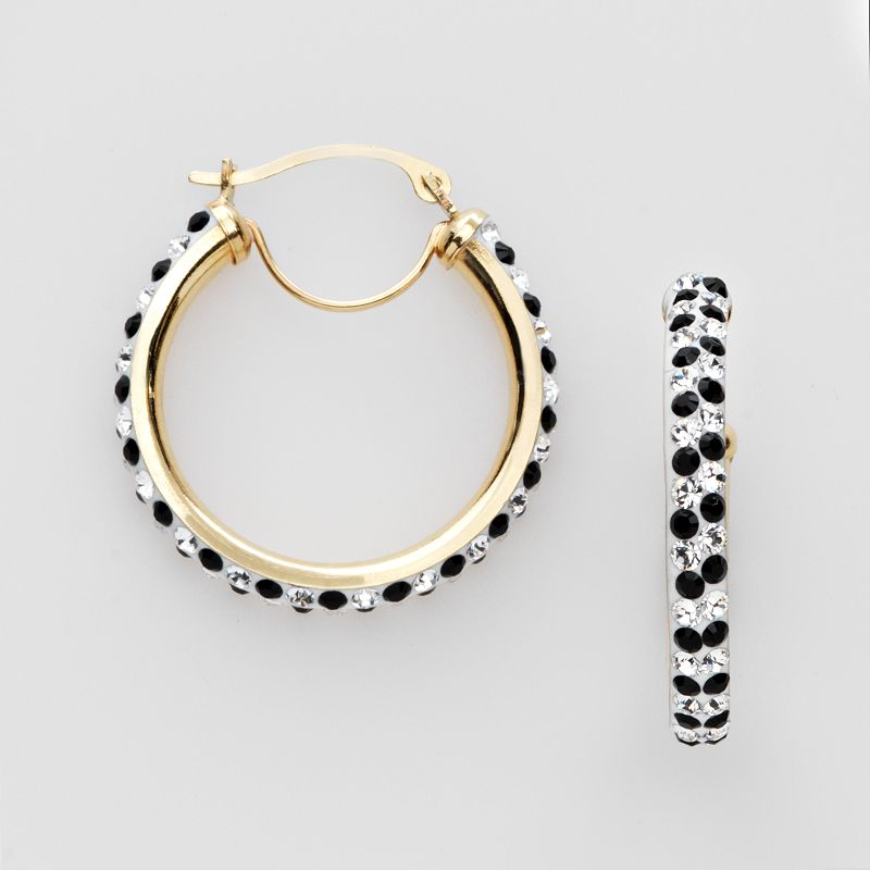 Gold 'N' Ice 14k Gold Black and White Crystal Hoop Earrings - Made with Swarovski Crystals