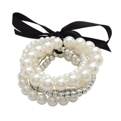 Candie's® Silver Tone Simulated Pearl and Simulated Crystal Stretch Bracelet Set