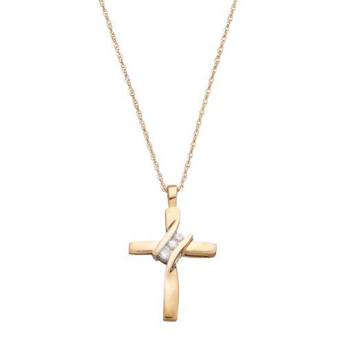 10k Gold Diamond Accent Cross Pendant