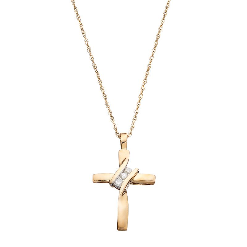 10k gold diamond accent cross pendant. Black Bedroom Furniture Sets. Home Design Ideas