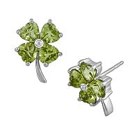 Sterling Silver Peridot Four-Leaf Clover Earrings