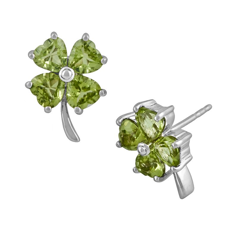 Sterling Silver Peridot Four-Leaf Clover Earrings