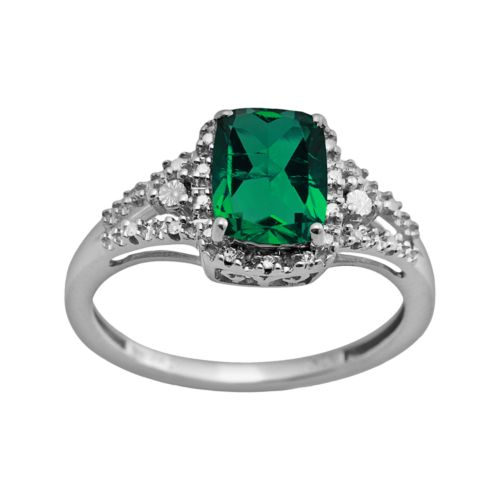 10k White Gold Lab-Created Emerald Cushion-Cut Ring