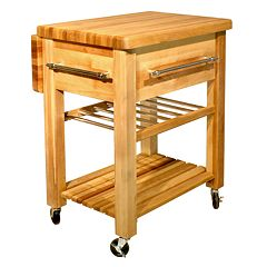 Catskill Craftsmen Baby Grand Workcenter Kitchen Cart With Wine Rack by