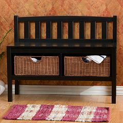 Black Rattan Storage Bench by