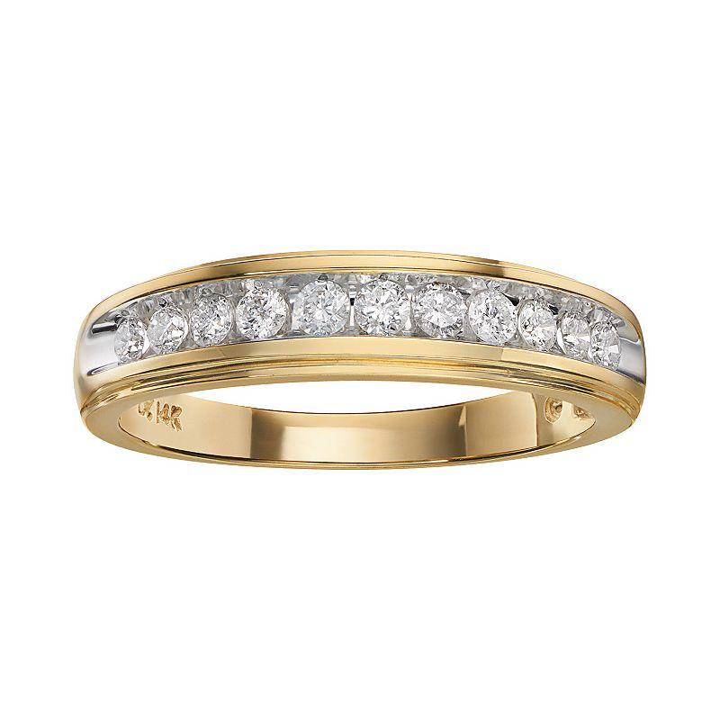 Cherish Always 14k Gold Two-Tone 3/8-ct. T.W. Certified Diamond Wedding Band