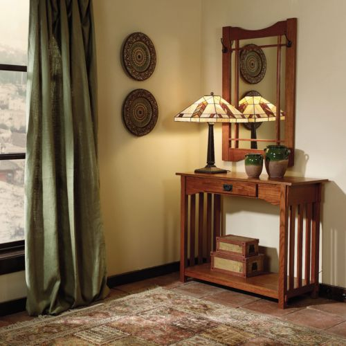 Mission Oak Console and Mirror Set