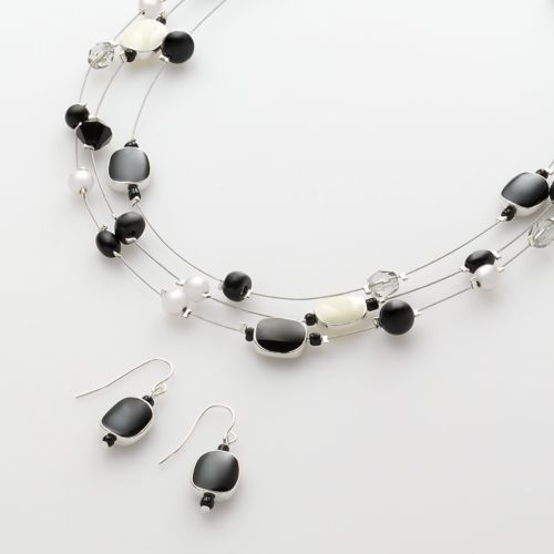 Croft & Barrow® Silver Tone Beaded Illusion Necklace and Drop Earring Set