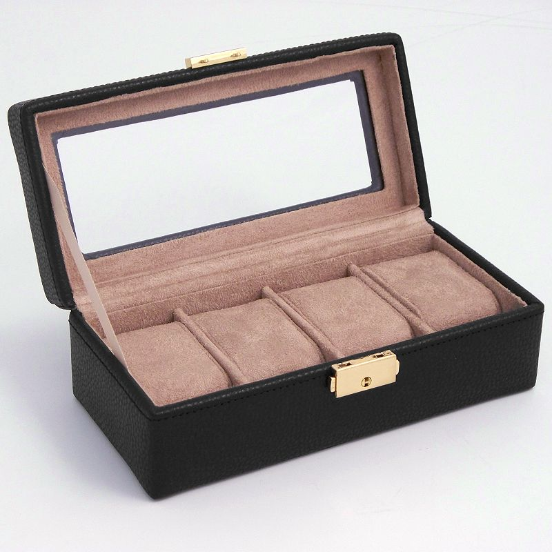 Glass Top Leather Watch Case