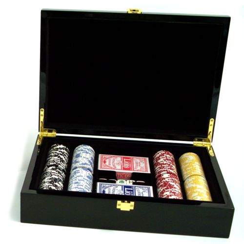 Wood Case Poker Set