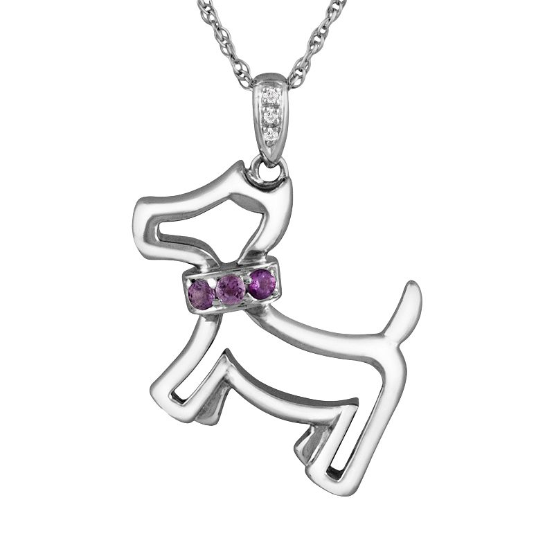 Sterling Silver Amethyst and Diamond Accent Dog Pendant