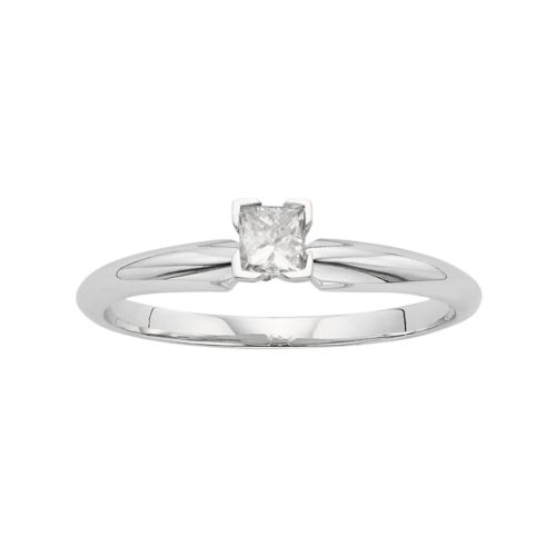 Princess-Cut Certified Diamond Solitaire Engagement Ring in 14k White Gold (1/4 ct. T.W.)