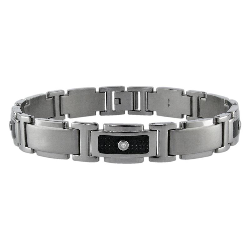 Stainless Steel 1/10-ct. T.W. Diamond and Carbon Fiber Bracelet