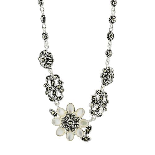 Le Vieux Mother-of-Pearl and Marcasite Sterling Silver Flower Necklace - Made with Swarovski Marcasite