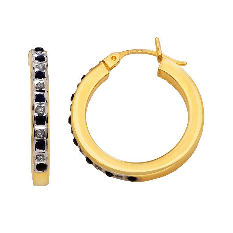 18k Gold-Over-Silver Sapphire Hoop Earrings