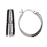Platinum Over Silver Black & White Diamond Accent Hoop Earrings