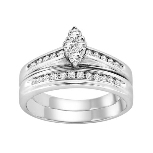 Love Always Round-Cut Diamond Engagement Ring Set in Sterling Silver (1/3 ct. T.W.)