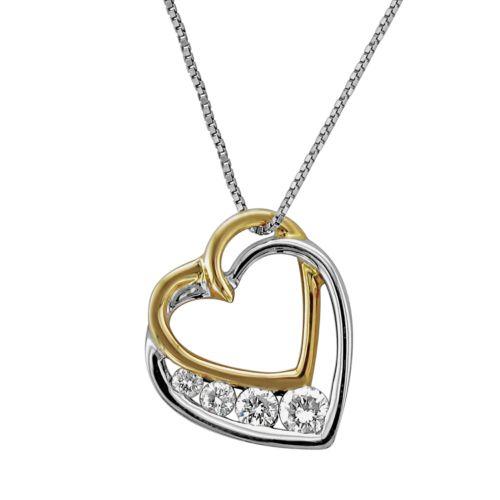 14k Gold Two Tone 1/4-ct. T.W. Diamond Heart Pendant